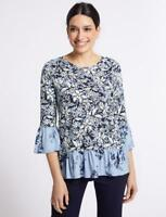 MARKS & SPENCER PER UNA BLUE FLORAL PRINT RUFFLE SLEEVE TOP Sizes 10 to 20