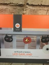 New Halloween 10 LED lighted Garland Jack-O-Lantern & Black Cat String Lights