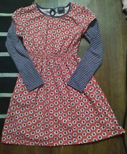 Mini Boden dress size 9-10 Purple striped long sleeves red floral