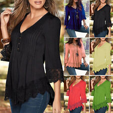 Fashion Women's Casual Long Sleeve Tank Tops Loose Lace T-Shirt Blouse Plus Size
