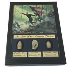 The Civil War Eastern Theater Bullet Set with Glass Top Display Case