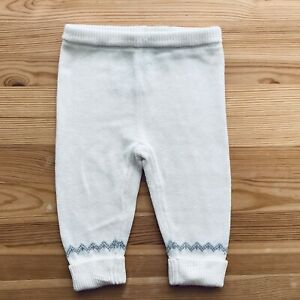 NWOT JANIE AND JACK White/Gray Sweater Pants Size 3-6 Months