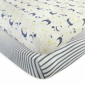 Touched By Nature Boy and Girl Organic Fitted Crib Sheets, 2-Pack, Moon
