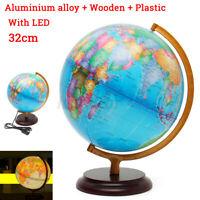 LED 32CM Heavy-Duty Alloy World Map Globe Desk Lamp Night Light Home Office  /