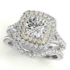 14K White Gold Certified 2.50Ct Round Cut Diamond Engagement Bridal Ring Set