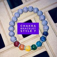 Handmade Chakra Bracelet - stretch band, chakra beads, lava beads