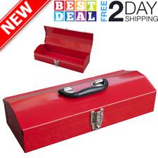 Small Red Heavy Duty Metal Tool Box Steel Storage Organizer Parts Tools 16