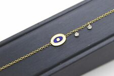 "Meira T Enamel Evil Eye & 0.04Ct Diamond Bracelet 14K Yellow Gold 5.5""-7"""