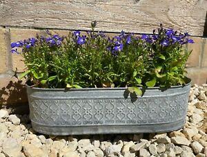 Galvanised Zinc Floral Metal Planter   Garden Flower Pots Trough Set of 3 OR 1