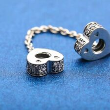 Authentic Pandora Sliver Sparkling Arcs of Love Heart Safety Chain 797138 #c