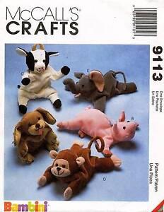"McCall's Bean Bag Animals Pattern 9113 Size 9"""
