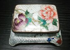 RARE JAPANESE CLOISONNE ENAMEL FLORAL STAMP JAR BOX