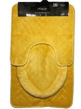 3PC BATHROOM SET RUG CONTOUR MAT TOILET LID COVER PLAIN SOLID COLOR BATHMAT