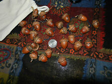 Elder Futhark 24 Rune Set Pyro Wood  Red Oak Acorns  Muslin Bag  Magick Wicca