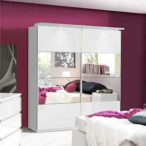Lucia White Gloss Sliding Door Wardrobe Slider Robe Chest of Drawers Bedside