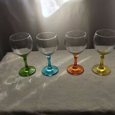 Harlequin Base & Stem Wine Glasses x 4 Green/Yellow/Blue/Amber
