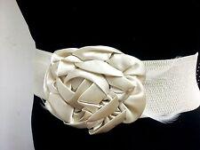 Fashion Women Cream/Beige Wide Elastic Belt Satin Flower & Feathers S M L XL
