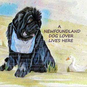 NEWFOUNDLAND NEWFIE DOG LOVER NEW ABSTRACT HARDBOARD PLAQUE TILE c SANDRA COEN