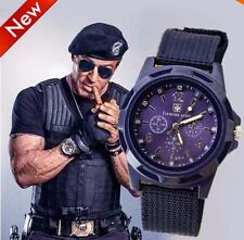 Casual Men Watch Wristwatch Military Analog Sport Army Quartz Canvas Strap Black