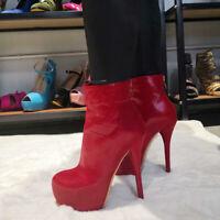 STYLISH Women Ankle Boots Platform High Heels Boots Zipper Shoes Big Size 4-20