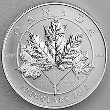 Canada 2012 Maple Leaf Forever $10 Numismatic Coin 99.99% Pure Silver with COA
