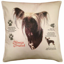 More details for chinese crested history cotton cushion cover - cream or white cover - gift item