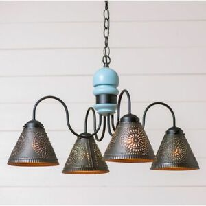 4-Arm Cambridge Wood Chandelier with Tin Shades in Misty Blue