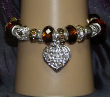 New 925 Sterling Silver Filled and Amber Crystal Fashion Charm Bracelet