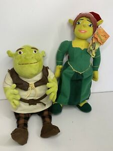"Play By Play Shrek 2 2004 14"" Princess Fiona Christmas Santa Hat 13"" Shrek Plush"