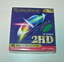 "Caja 10 Disks Fujifilm MF2HD 1,44MB HD IBM Formatted Disquete 3.5"" verde Nuevo"