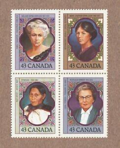 Prominent WOMEN = Canada 1993 # 1459a MNH Block of 4