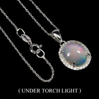 Unheated Oval Fire Opal Hot Rainbow 12x10mm Cz 925 Sterling Silver Necklace