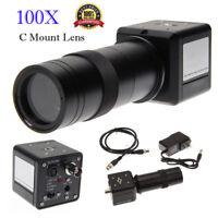 100X Digital Industrial Microscope Magnifier Camera BNC AV TV Video C-Mount Lens