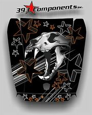Arctic Cat Wildcat 1000 Hood Graphic Decal Sticker Skull Cat Orange