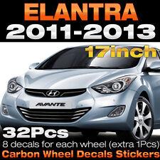 "Carbon Black Spoke Wheel Vinyl Decal Sticker 17"" 32Pcs for HYUNDAI 11-13 Elantra"
