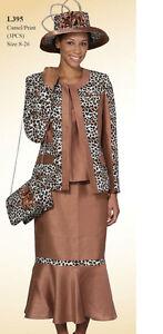 Lady's New 3 Piece Dress Leopard Print W/Jacket/Blouse/Long Skirt Camel Lyndas's
