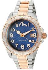 Evisu Yamate 7010-33 Men's Swiss Made Automatic Watch Gold Tone Blue Dial NEW