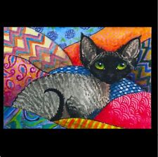 ACEO BLACK SMOKE DEVON REX CAT PRINT FROM ORIGINAL PAINTING BY SUZANNE LE GOOD