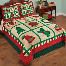 Reversible Green & Red Festive Christmas Icons King Size Quilt
