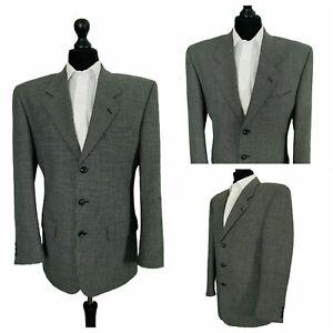 Mens Jacket Blazer Chest 36 Black Grey Wool Blend Smart Formal  P114