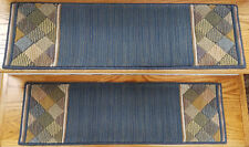 "Rug Depot 13 Contemporary Border Non Slip Carpet Stair Treads 30"" x 9"" Blue Wool"