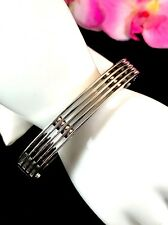 EXCEPTIONAL ITALIAN ZOPPINI STAINLESS STEEL MODERN ART LAYERED CUFF BRACELET