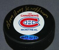 "UDA BERNIE ""BOOM BOOM"" GEOFFRION SIGNED AUTOGRAPH PUCK MONTREAL CANADIENS"