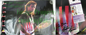 Vintage Andre Agassi SIGNED COA NIKE Poster Challenge Court Mullet Real or Not?