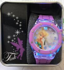 DIsney Fairies Tinker Bell Watch Tink on Light-up Flash Dial Purple Silicon Band