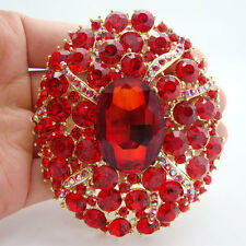 Vintage Style Oval Art Deco Brooch Pin Red Crystal Rhinestone Wedding Pendant