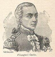 A6872 Carlo Filangieri - Stampa Antica del 1926 - Xilografia