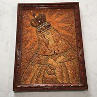 STONE MOSAIC Rock Art Religious WOOD FRAMED ORNATE Framed Jesus Wall VTG Antique