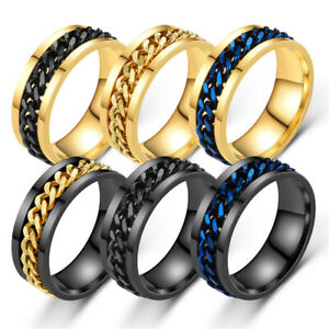 Titanium Stainless Steel 8mm Spinner Ring Curb Chain Men Women rings Size 6-12