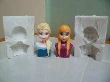 3D Frozen Elsa o Anna cabeza de silicona Molde para Cake Toppers Chocolate, Arcilla Etc